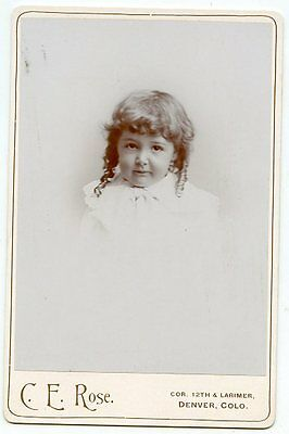 Cabinet Photo - Denver, Colorado - Adorable Little Girl -Long Curls, Curly Bangs
