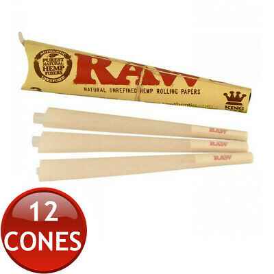 4 x RAW PRE-ROLLED ORGANIC HEMP CONES KING SIZE TOBACCO TOTAL 12 CONE PAPERS