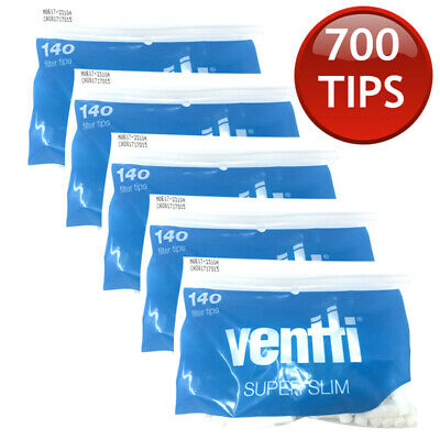 5 x VENTTI FILTER SLIM TIPS TUBE ROLLING PAPER TOBACCO CIGARETTE ROLLER 140s