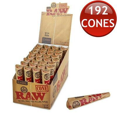 32 x RAW PRE-ROLLED CLASSIC CONES JOINT BLUNT TOTAL 192 CONE PAPERS 1 1/4 SIZE