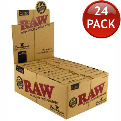 24 x RAW NATURAL KING SIZE SLIM ROLLING PAPER TIPS CLASSIC CONNOISSEUR TOBACCO