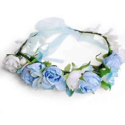 Boho Flower Crown Headband Floral Hair Garland Wreath Headpiece Handmade HS15-2