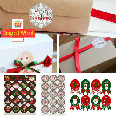 120 Round Labels 'MERRY CHRISTMAS' Snowflake Gift Seal Xmas Present Stickers UK