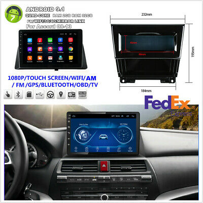 For Honda Accord 08-12 10.1'' Android9.1 12V Car Stereo Radio WIFI 3G 4G GPS Nav