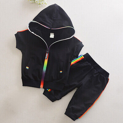Baby Kids Boys Girls Summer Sports Hooded Zipper Tops+ Pants Tracksuit 2Pcs