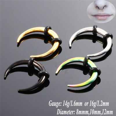 Surgical Steel Hoop Septum Nose Ring Piercing Clip Cartilage Earrings Jewelry+q