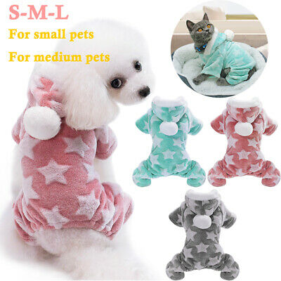 Pet Dog Cat Warm Pajamas Apparel Clothes Costumes Winter Hoody Jumpsuit Outfit