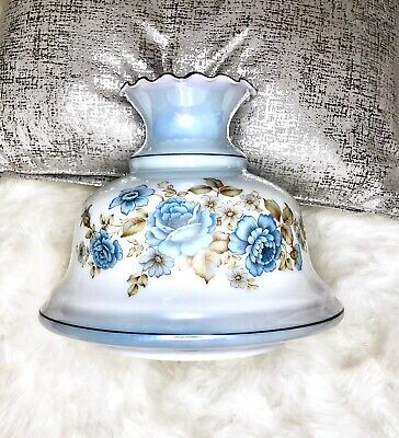 """Large Antique Carnival Blue Glass Hand Painted Rose Oil 12"""" Lamp Shade"""
