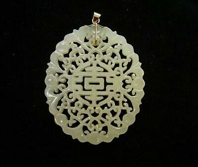 A Well Carved Antique Chinese Celadon Jade Plaque With Gold Mount As Pendant