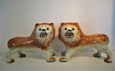 Pair Antique Staffordshire Lions Fine Large 19th Century Statues Figurines