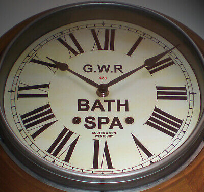 Great Western Railway GWR Victorian Style Wooden Clock, Bath Spa Station