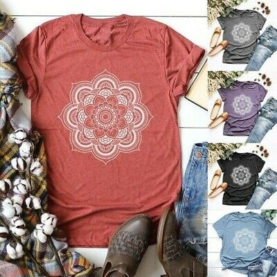 Women Floral Print Tops Graphic Tees Summer Casual Short Sleeve Loose T-Shirt