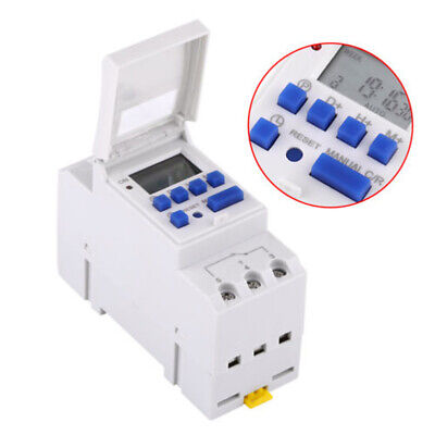220V 15A DIN Rail Mounting Digital Programmable Timer Switch ON/OFF SETTINGS
