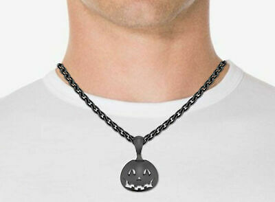 Halloween Angry Pumpkin Pendant Without Chain 10K Gold Over 925 Silver