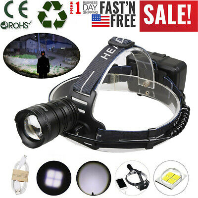 XHP50 990000LM LED Headlamp USB Rechargeable 18650 Headlight Torch Super Bright