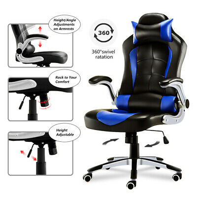 Blue Luxury Computer Chair Gaming Racing Chair Swivel Office Chair Home Chair