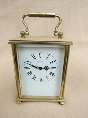 Vintage Estyma Manual Wind Brass Carriage Clock For Tlc