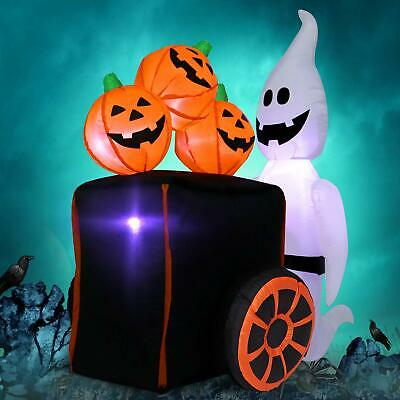"Halloween Inflatable ""Ghost Pushing Cart of Pumpkins"" Decoration- 6 Ft X 4 Ft"