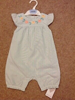 Marks And Spencer Baby Girls Green Striped Cotton Dungarees Age 6-9 Months Bnwt