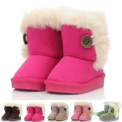 Girls Kids Furry Lined Soft Winter Warm Ankle Boot Snow Boots Faux Suede Shoes @
