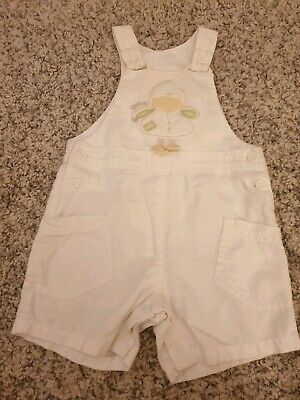 Baby Girls Cute NEXT White Duck Summer Dungarees - Size 3-6 Months