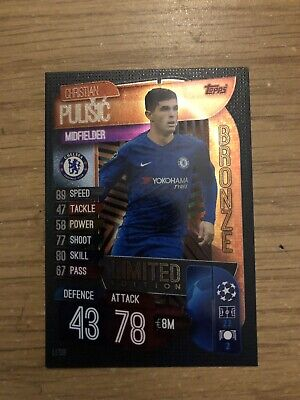 Match Attax 2019/20 Christian Pulisic Bronze Limited Edition Le10B Mint