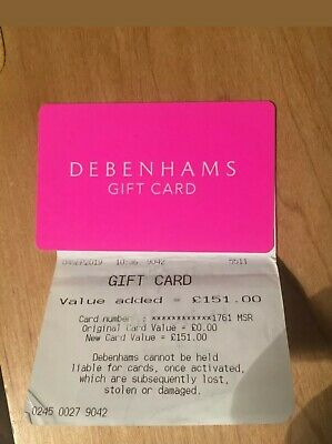 £151 debenhams gift card
