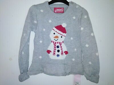 Bnwt Primark Young Dimension Baby Girls grey Snowman Tunic 18-24 Months