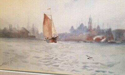 Antique  Painting Watercolor Painting Signed Turkey Istanbul Scene