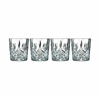 CRYSTALLINE GLASS CUPS Marquis Old Fashioned Entertain Party Glasses Set of 4