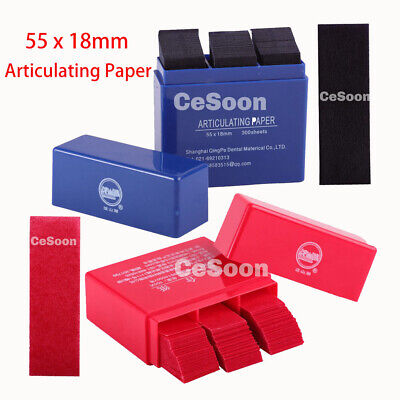 300 Sheets Dental Articulating Paper Red / Blue Lab Strips Teeth Care 55 x 18mm