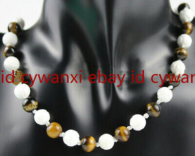 Natural 8mm White Carving Coral & Yellow Tigers Eye Round Gems Necklace 18'' AAA