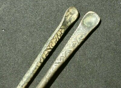 Authentic Ancient Roman Bronze Decorated Medical Cosmetic Tool - Spoon Lot Of 2