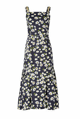 Mother of Pearl Blue Women's 6 Floral Print Square Neck Maxi Dress $750- #455