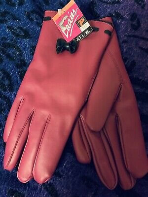 Pink Faux Leather Womens Gloves Lined