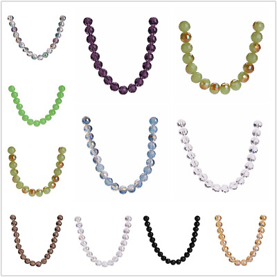 100pcs 8mm Round Faceted Crystal Glass Loose Spacer Beads Wholesale