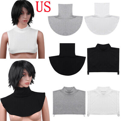 Womens Faux Turtleneck Neck Dickey False Mock Blouse Half Top Collar Cover Bib