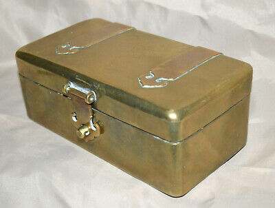 Antique China Brass Box With Copper Strap Hinges Fitted Wood Lining Estate!