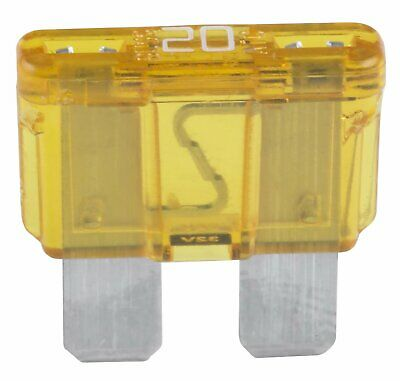 ATC-20 Fuse Auto Fast Acting 20A 19.1x19.3x5.25 mm Plastic-Yellow Blade 32 VDC