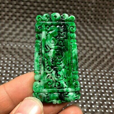 A GRADE Chinese Green Natural Jadeite Jade Carved Dragon Handwork Pendant B29
