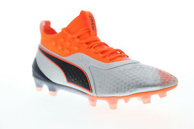 Puma One 1 IL Leather FG AG Mens Black Low Top Athletic Soccer Cleats Shoes