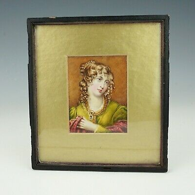 Antique Victorian - Hand Painted Portrait Miniature Painting - Lovely!