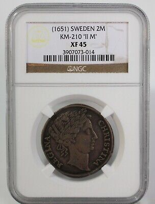1651 Sweden Silver 2 Mark Coin II M Certified by NGC as XF 45 Regina Christina