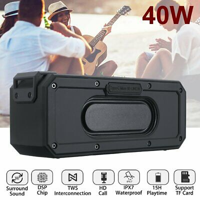 40W Portable Wireless bluetooth Speaker Amplifier Boombox Stereo Waterproof TWS