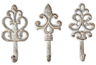 Home Antique Rustic Shabby Chic Cast Iron Decorative Wall Hanging Hooks Set of 3