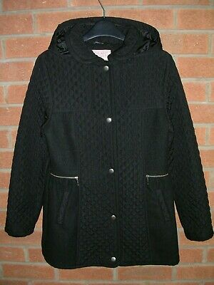 GEORGE Girls Black Hooded School Coat Quilted Jacket Age 13-14