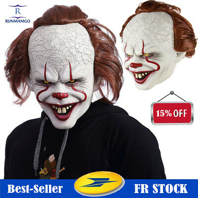 Pennywise Joker Mask It Chapitre Deux 2 Masque Effrayant Halloween Clown Cosplay