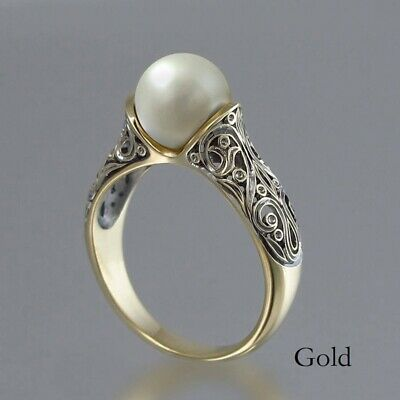 Antique White Pearl Women Wedding Engagement Ring 925 Silver Jewelry Gift Size 6