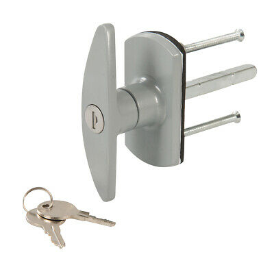 Silver Locking Door Handle -ZINC ALLOY- 75mm Square Spindle-Fixing Screws & Keys