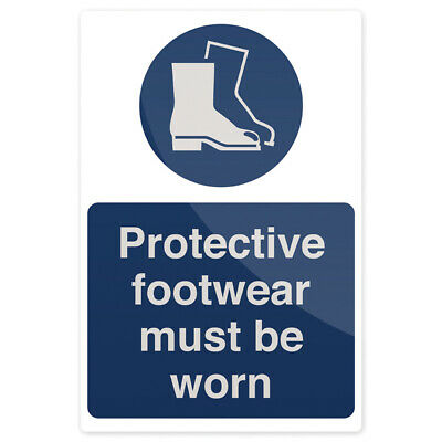Rigid Protective Footwear Must Be Worn Sign -200mm x 300mm-Health & Safety Board